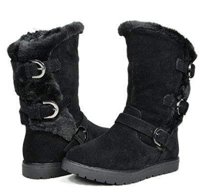 Dream-Pairs-KOREL-Girls-Winter-Buckles-Zipper-Closure-Fully-Fur-Lining-Kids-Snow-Boots-Black-Size-8