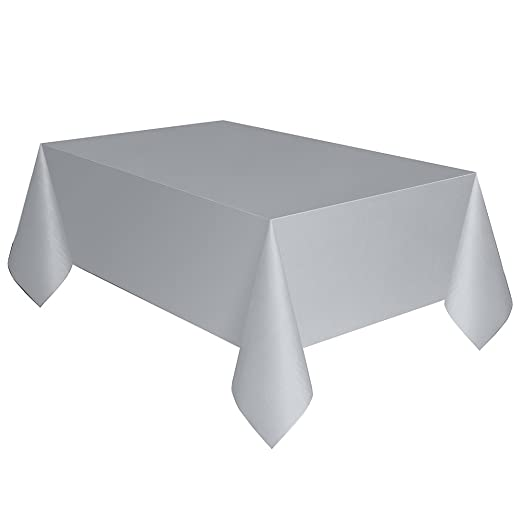"54""x108"" Plastic Tablecloth Silver"