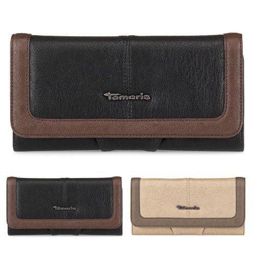 TAMARIS Damen Brieftasche Geldbörse lang, Clutch, BETTY, 2 Farben: schwarz oder taupe