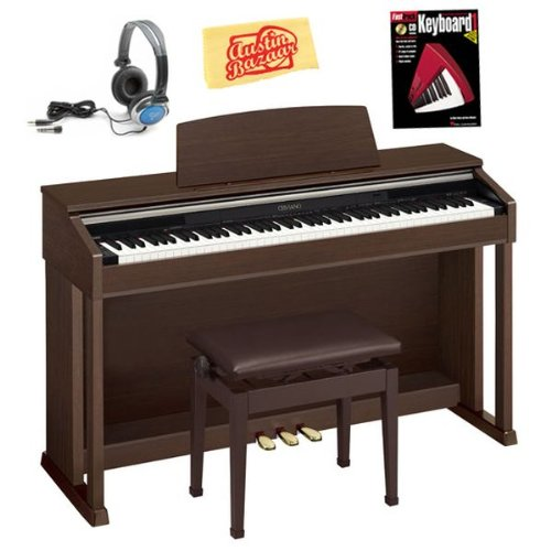Casio AP-420 Celviano Digital Piano Bundle with Bench, Headphones, Instructional Book, and Polishing Cloth - Brown