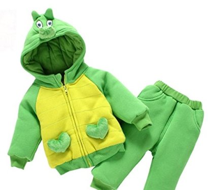 2-Piece-Baby-Winter-Cartoon-Dinosaur-Hooded-Coat-Pants-Clothes-Set-18-24Months-Green