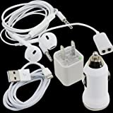 5 In 1 Wall & Car Charger Adapter +Earphone+Data Sync USB Cable for iPhone 5 5G 5S
