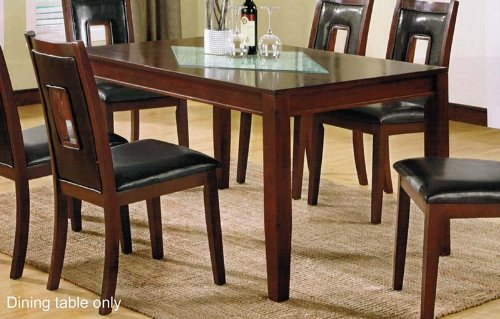 Buy low price dining table with glass top in cherry finish for Best place to buy a kitchen table