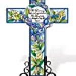 Amia Inspirational Cross with Bluebonnet Floral Design, Hand Painted Glass with Imprinted Scripture, 12-Inch