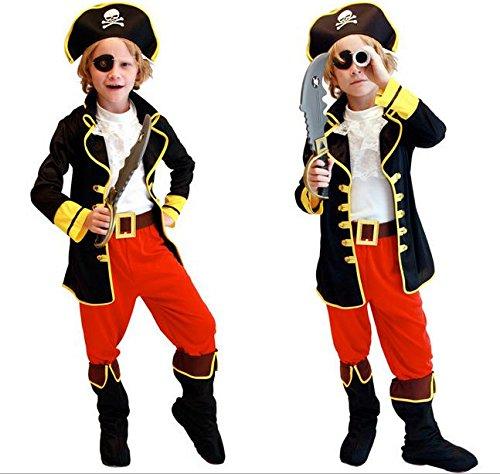 Cosjob 海賊 コスチューム 6点 ( ベスト 前掛け ズボン 帽子 ベルト 眼帯 ) フェイス ペイント 6色 セット (A173) Halloween ハロウィン クリスマス 海賊 衣装 コスプレ 仮装 キャプテン パイレーツ 子供 キッズ 男の子 ( M 110 ~ 120cm)