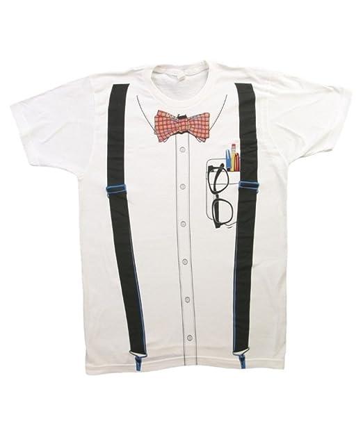 Impact Originals Nerd Suspenders Bowtie Men's White T-shirt (Small)