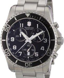 Victorinox Classic 241432 - Reloj cronógrafo de cuarzo para hombre, correa de acero inoxidable color plateado