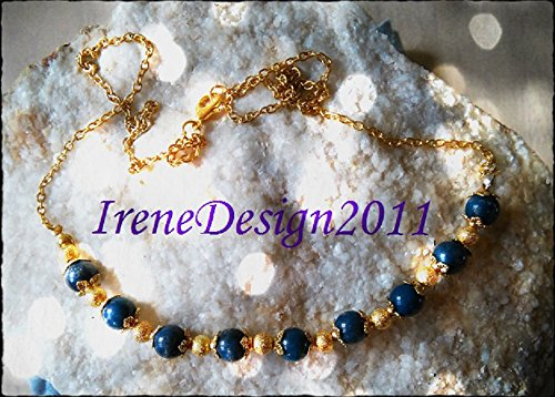 Gold Necklace with Blue Jade & Gold Dust