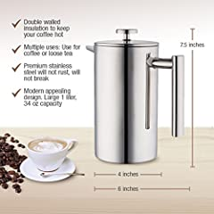 MIRA Stainless Steel French Press Coffee Tea Brewer Double Wall 1Liter 34 Ounces
