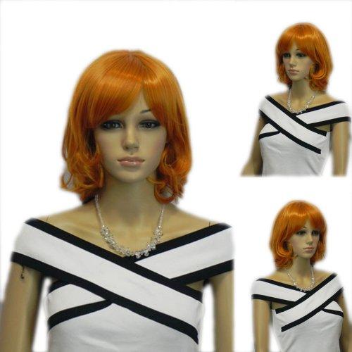 Yazilind Shoulder Length Medium Orange Wavy Curly