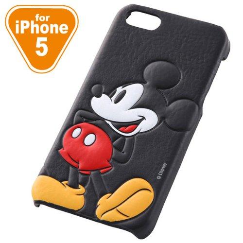 レイ・アウト iPhone 5/5S用 ディズニー・キャラクター・オープンタイプ・レザージャケット(合皮タイプ) ミッキー RT-DP5SB/MK