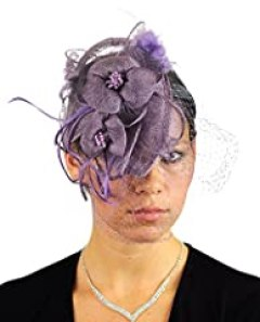 NYFASHION101 Cocktail Fashion Sinamay Fascinator Hat Flower Design & Net - Lilac