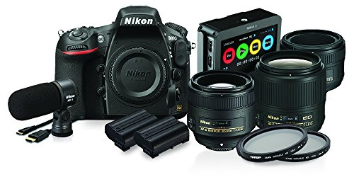 Nikon D810 FX-format Digital SLR Film Makers Kit w/ AF-S NIKKOR 35mm f/1.8G ED, AF-S NIKKOR 50mm f/1.8G & AF-S NIKKOR 85mm f/1.8G Lenses