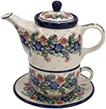 New Polish Pottery TEA FOR ONE SET Boleslawiec CA Pattern 1535 Euro Stoneware