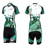 QinYing Panda Printing Short Sleeve Bicycle Cycling Jersey Set for Women Tag XXL=US L