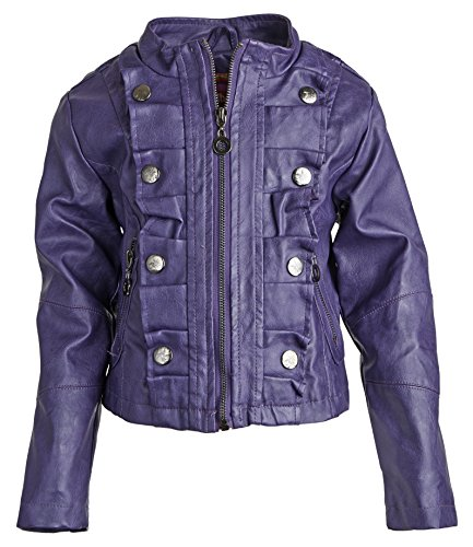 Dollhouse Baby Girls Moto Leather Look Zippered Trench Rain Spring Jacket - Plum (12 Months)