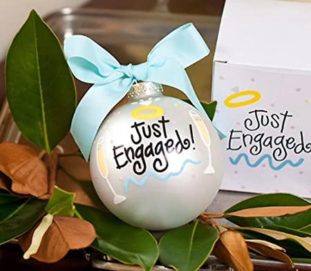 Just Engaged Glass Ornament
