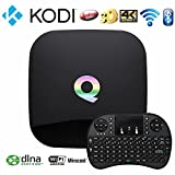WISEWO Q-Box Android 5.1 Amlogic S905 Smart TV Box Quad Core Speed Bluetooth 4.0 Dual Band Wifi KODI/XBMC Fully Loaded Add-ons 2GB/16GB/4K Streaming Media Player +I8 Wireless Keyboard Mouse