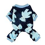Fitwarm Soft Velvet Cute Bear Pet Clothes for Dog Pajamas Winter Coats PJS, Blue, Small