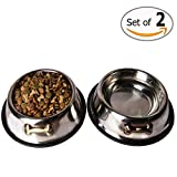 Gpet Dog Bowl 24 Ounce Made of Stainless Steel for Long Durability with Rubber Base That Bowls Wont Slip, Your Pet Can Use One for Water and One for Food Made Your Puppy, Beautiful Dish (Set of 2)