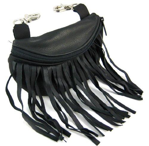 Black Leather Belt Loop Purse Ride Bag Fringe