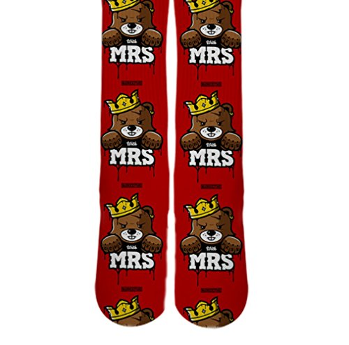 Dopesox Mens Mr King Bear Elite Sublimated Socks One Size (6-12) White