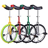 "Unicycle 18"" Wheel with Large Saddle in Unique Design with Heavy Duty Unicyle Stand"