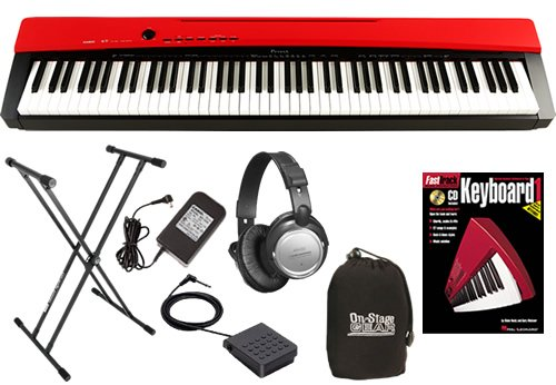 Casio PX-130 Red Digital Piano BUNDLE w/ Keyboard Stand & Headphones