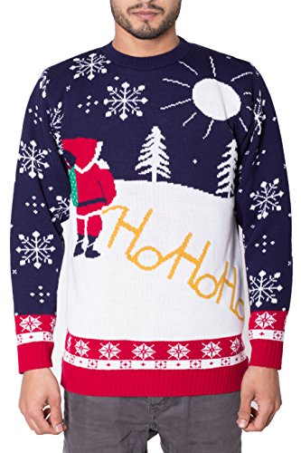 NOROZE Unisex Mens Ugly Naughty Knitted Christmas Jumper-Cream L