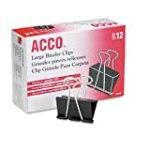 Acco 2 Inch Large Binder Clips, Black, 12 Pack (A7072100B) for $3.18 + Shipping