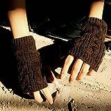 SARA STORE アームウォーマー ユニセックス おしゃれに 防寒 手袋 ブラウン 茶色