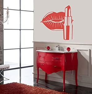 housewares vinyl decal cosmetics lips make up beauty salon home wall art decor removable stylish