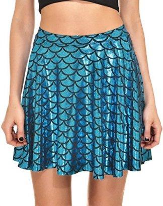 Alaroo-Girls-Fish-Scale-Mermaid-Print-Ruffle-Flare-Mini-Skirt-Peacock-L