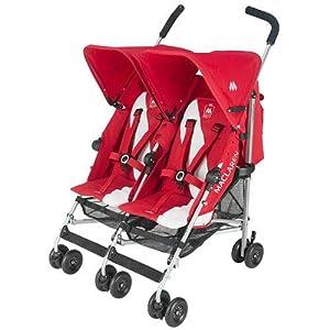 Maclaren Twin Triumph Stroller, Scarlet/Silver