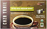 Caza Trail Coffee, Organic Extra Bold Medium Roast, 100 Single Serve Cups