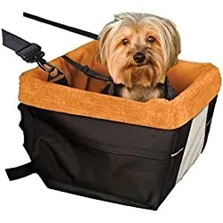 Kurgo Skybox Dog Booster Seat for Cars with Seat Belt Tether, Black/Orange