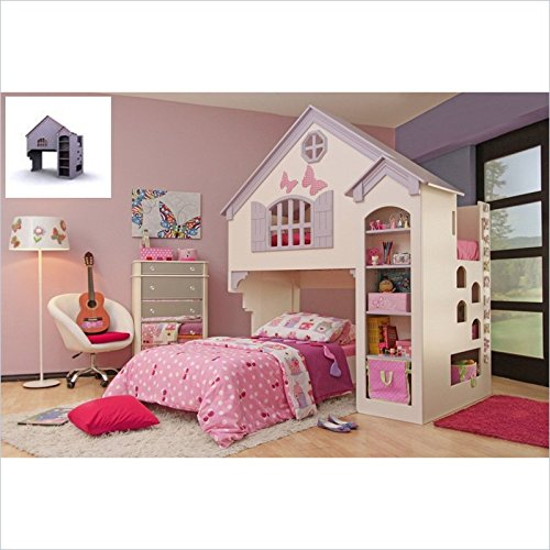 Proman Amberly Dollhouse Bunk Bed in Purple Pink