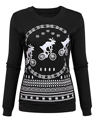 eshion Merry Christmas Bitches Ugly Sweater Humping Reindeer Funny Sweatshirt