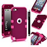 E-LV Two Tone Hard and Soft Hybrid Armor Combo Case for Apple iPod Touch 5 5th Generation with 1 Free Screen Protector, 1 Black Stylus and 1 E-LV Microfiber Digital Cleaner (Purple with Hot Pink)