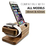 Apple Watch Stand, Konsait 2 in 1 Bamboo Charging Dock Apple iWatch Charging Stand Station & iPhone Charging Stand Bracket Platform Vintage Cradle Holder Comfortable Viewing Angle Stand for iPhone Smartphone & Apple Watch 38mm and 42mm (Bamboo)