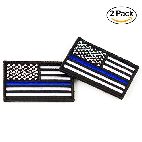 Thin Blue Line Velcro Patch ( 2 Pieces ) – Sewn US Flag