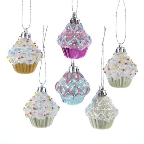 Kurt Adler Set of 6 Cupcake Ornaments