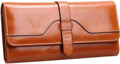 Heshe-Lux-Womens-Waxy-Cowhide-Leather-Long-Wallet-Clutch-Purse-Handbag-Card-Holder-Case-with-Coin-Zipper-Pocket-Camel
