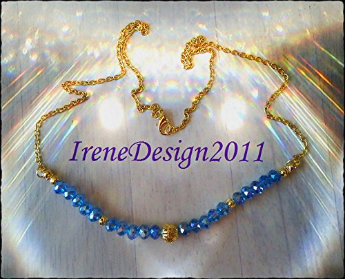 Gold Necklace with Facetted Blue Crystal