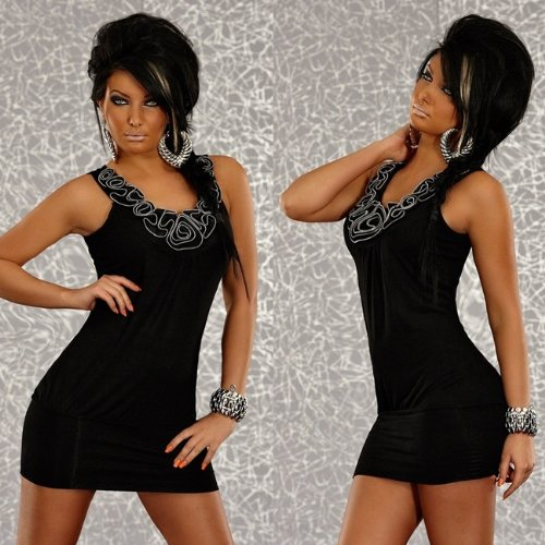 Minikleid Cocktailkleid schwarz mit Rüschen one size