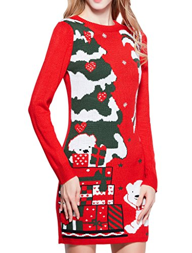 Women Christmas Sweater, V28 Ugly Cowl Neck Cute Reindeer Xmas Sweater Dress