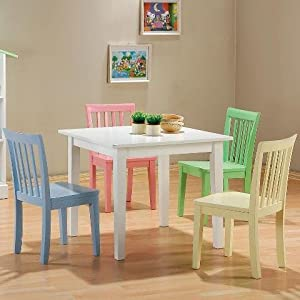 5pc Kids Set Play Room Table Chairs Kitchen Dining