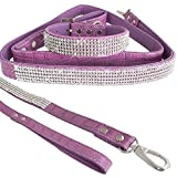 "WwWSuppliers Purple PU Leather Crocodile Bling Rhinestones Dog Puppy Pet Adjustable Collar & Purple Bling Leash Lead Fancy Elegant Sparkling Shiny Dazzling Cute Diva Combo (Small  9 1/2""-11 1/2"")"