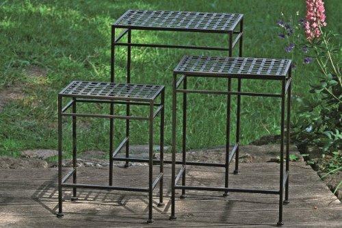 3er-Set Tisch *Fugo* Beistelltisch Pflanztisch Eisen Antikbraun - H40/48/55cm