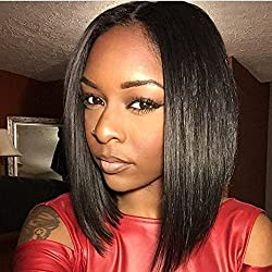 Sunwell 6A Virgin Brazilian Glueless Human Hair Lace Front Short Bob Wigs Silk Straight for Black Women with Baby Hair Bleached Knots (10, Natural Color)